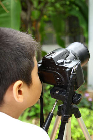 Children with learning photography  Stock Photo