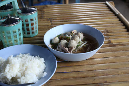Meatballs with rice soup restaurant in Thailand  photo