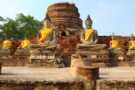 Ancient Buddha statues at Wat Yai Chai Mongkol photo