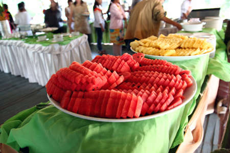 Large fruit tray at a party