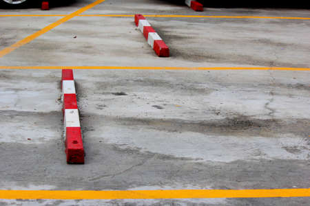 Yellow line in the parking lot outdoor
