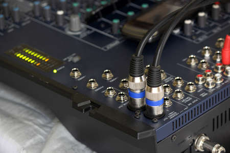 Connectors is connected to sound mixer Stock Photo - 21610091