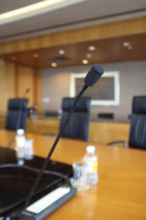 Close-up microphone in meeting room