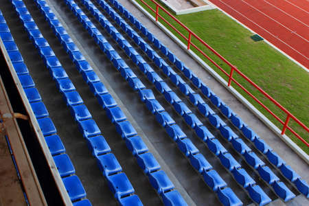 Empty seats in football stadium after the season part 2 Stock Photo
