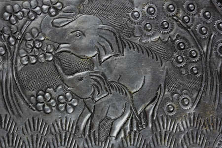 Texture of silver metal Elephant ,  photo
