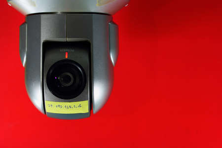 Closeup CCTV red background