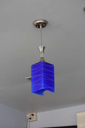 blue lamps on the ceiling photo