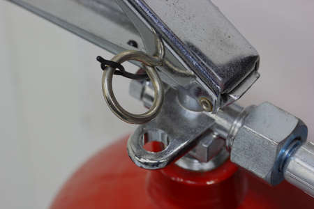 unlocked: Closeup fire safety latch unlocked  Stock Photo