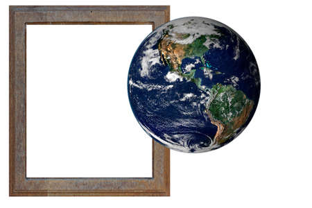 Wood frame and earth  World outside the framework of globalization  photo