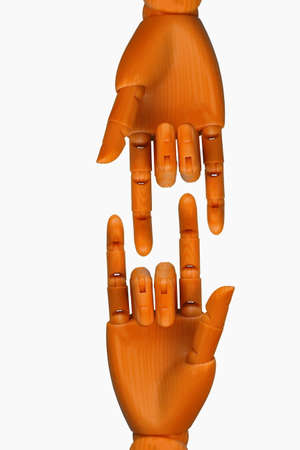 Plastic hand isolated on a white background  photo