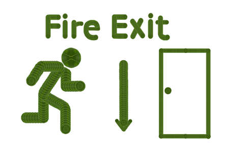 going away: create from leaf  icon fire exit concept