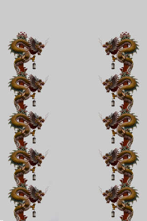 godliness: Chinese dragon statue white sky background