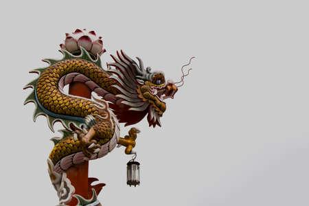 godliness: Chinese dragon statue  white sky background Stock Photo