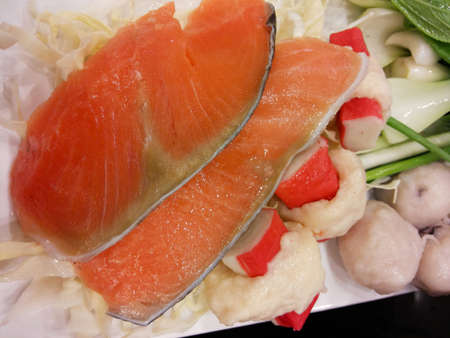 Raw salmon fillet close
