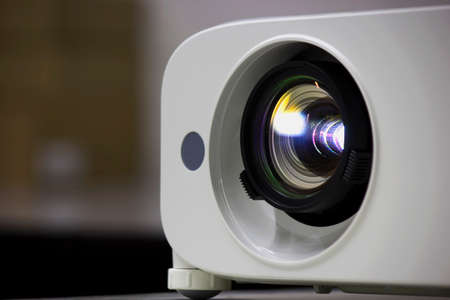 audiovisual: projector lens colse Stock Photo
