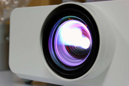 pres: Light lens projector close Stock Photo