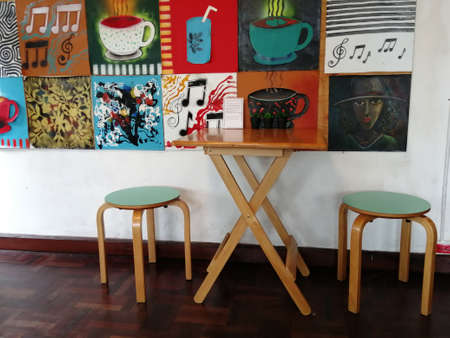 Tables and chairs in Thai fashion shops Banque d'images