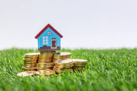 hand hold a home model put on the stack coin with growing. Savings money for buy house and loan to business investment. Concept Of Property Management. Invesment And Risk Management.