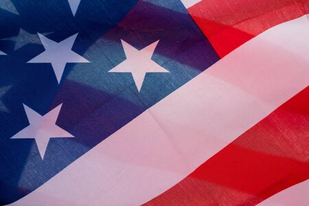 Beautifully waving star and striped American flag. Banco de Imagens