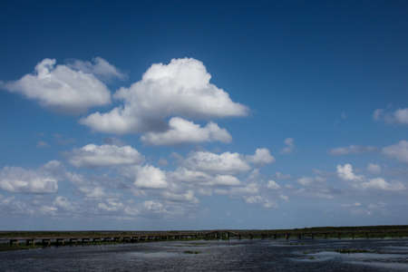 lakeview: Lakeview with clouds on the blue sky,Thailand Stock Photo