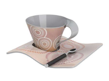 Rendered 3d isolated cup and spoon photo