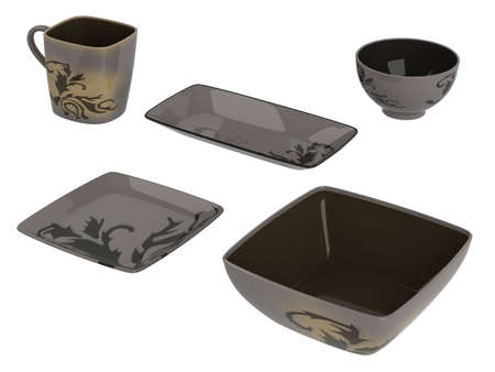 Rendered 3d isolated dark ware objects photo