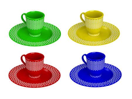 bar ware: Rendered 3d isolated colorful cups (red, green, yellow, blue)