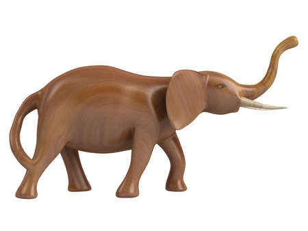 Rendered 3d isolated african animal statuette on white background photo