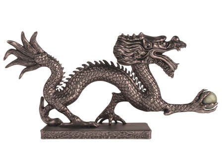 Rendered 3d isolated dragon statuette on white background photo