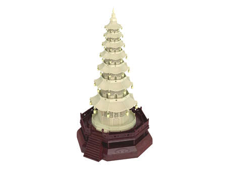 Rendered 3d isolated statuette chinese house
