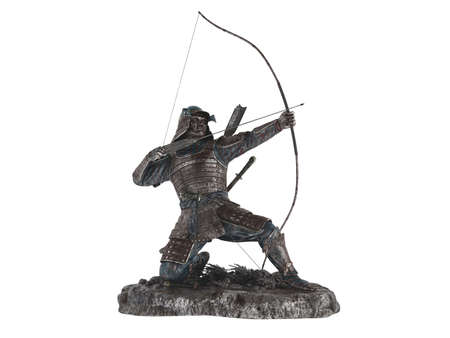 antiquary: Rendered 3d isolated statuette archer on white background