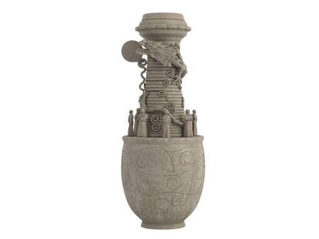 antiquary: Prestados 3d de drag�n asi�tico aislados de vaso, sobre fondo blanco