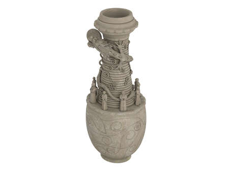 Rendered 3d isolated asian dragon vase on white background photo