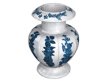 antiquary: Rendered 3d isolated asian vase on white background Stock Photo