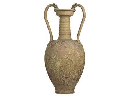 Rendered 3d isolated asian vase on white background Banco de Imagens