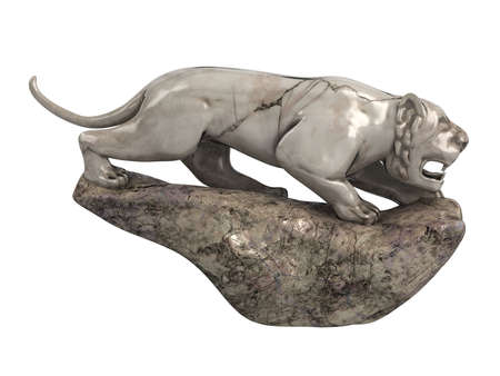 sculpted: Rendered 3d isolated lioness statuette on white background