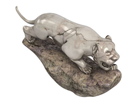 Rendered 3d isolated lioness statuette on white background