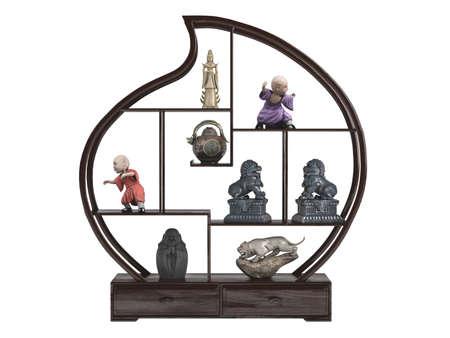 wood figurine: Prestados 3d estatuillas asi�tica aislados sobre fondo blanco Foto de archivo
