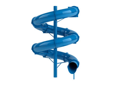 Rendered 3d isolated blue waterslide on white background