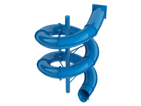 Rendered 3d isolated blue waterslide on white background photo