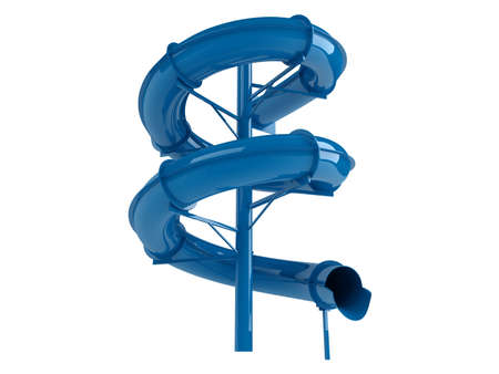 water chute: Rendered 3d isolated blue waterslide on white background