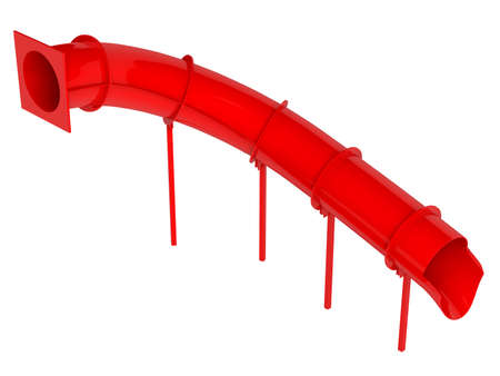 water chute: Rendered 3d isolated red waterslide on white background