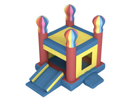 Rendered 3d isolated inflatable castle on white background photo