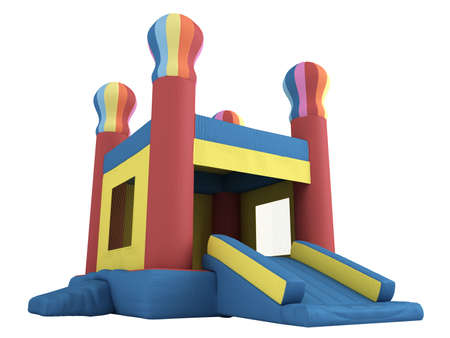 inflatable: Rendered 3d isolated inflatable castle on white background