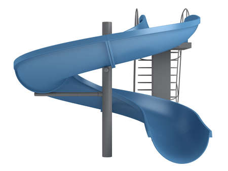 colorful slide: Rendered 3d isolated waterslide on white background Stock Photo