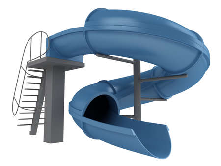 water slide: Rendered 3d isolated waterslide on white background Stock Photo