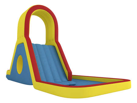colorful slide: Rendered 3d isolated inflatable children`s slide on white background Stock Photo