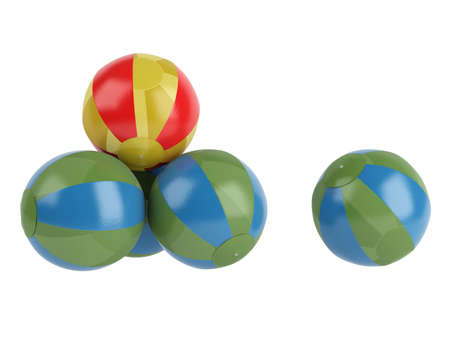 Rendered 3d isolated beach balls on white background photo