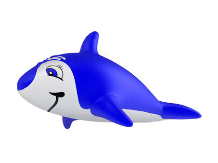 soft toy: Rendered 3d isolated inflatable dolphin on white background Stock Photo