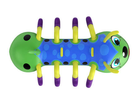 centipede: Rendered 3d isolated inflatable centipede toy on white background Stock Photo